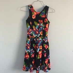 AQUA Neon Tropical Floral Skater Summer Dress